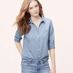 Loft The Softened Shirt white stripes (S)